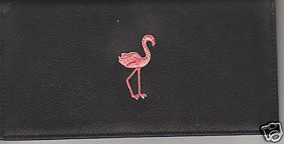 FLAMINGO LEATHER CHECKBOOK COVER BRAND NEW ITEM BIG BIRD LONG LEGS PINK - Big Pink Bird