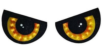 2 PIECE LIGHTED YELLOW EYES HALLOWEEN WINDOW SILHOUETTE DECORATION SET PIECE - Halloween Window Decorations Eyes