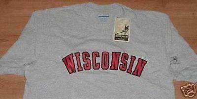 Wisconsin Badgers Short Sleeve T-Shirt Large Embroidered Logos Gray NCAA