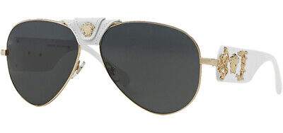 Versace Rock Icon Gold-Tone Leather Logo Pilot Sunglasses VE2150Q 134187 Italy