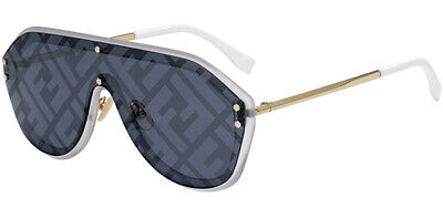 Fendi Fabulous Gold/Silver Shield Sunglasses w/Blu Decor Lens FFM0039GS 08 Italy