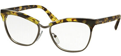 Prada Journal Women's Yellow Havana Cat-Eye Eyeglass Frames PR14S UBN 55  Italy
