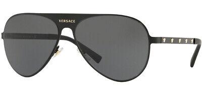 Versace Monochromatic Matte Black Pilot Sunglasses - VE2189 142587 59 - Italy