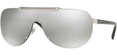 Versace Men's Silver/Black Shield Sunglasses - VE2140 10006G 40 - Made In Italy