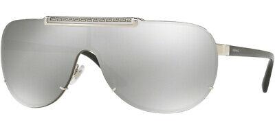 Versace Men's Silver/Black Shield Sunglasses - VE2140 10006G 40 - Made In Italy