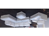 Large White Leather Corner Sofa, Matching Arm Chair and Footstool, in good condition