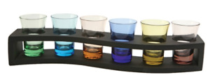 Around the Curve  7 Shot Glasses/Shooters with Shooting Tray