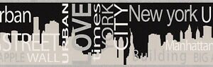 USA URBAN LOVE BIG APPLE NEW YORK CITY BLACK SILVER  WALLPAPER BORDER 5 Metre