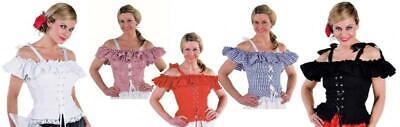 Bluse Kostüm Damen Trachten Dirndel Dirndl Cow Girl Spanierin Saloon Kleid Rock