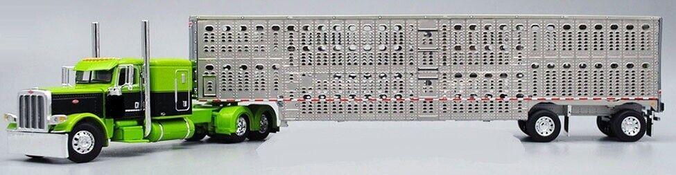 DCP 1/64 Lime Green Black 389 Peterbilt Spread Wilson Livestock Trailer 60-0548