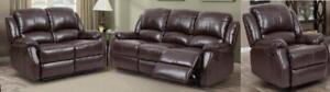 FREE DELIVERY!!!  New in Boxes!!! 3PC Reclining Sofa Sets includes Sofa, Love Seat and Chair in Black or Brown.  10 Avai