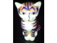 Retired Royal Crown Derby Grey Stripe Kitten Paperweight - 1st - gold - best -