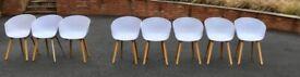 8 Stylish, white, Chinese-made, fake designer chairs (5 good, 3 broken)