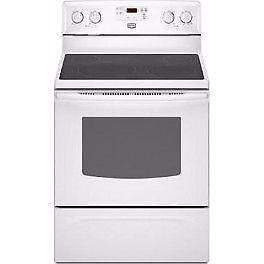 30'' Electric stove Maytag Freestand White Vitro/Cuisinière
