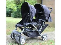GRACO DUO Double Buggy for sale in excellent conditions. Fully accessorized. Dark Blue