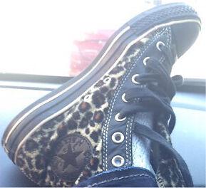 Fuzzy leopard print Converse