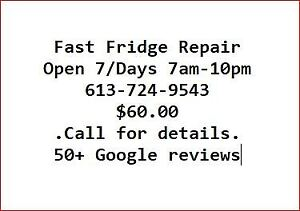Fridge Repairs Open 7 Days 7 am to 10 pm Ottawa and areas