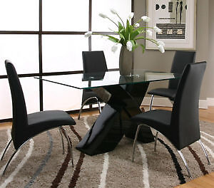 Revolve glass dining table
