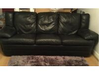 free black leather 3 seater
