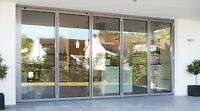 "4 ALUMINUM-CLAD SLIDING TEMPERED GLASS DOORS - 36""W x 80""H"