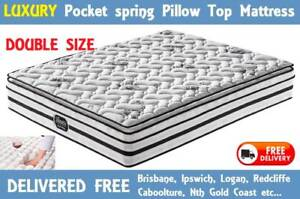 DOUBLE Size Bed Mattress LUXURY Pocket Spring Pillow Top Mattress New Farm Brisbane North East Preview