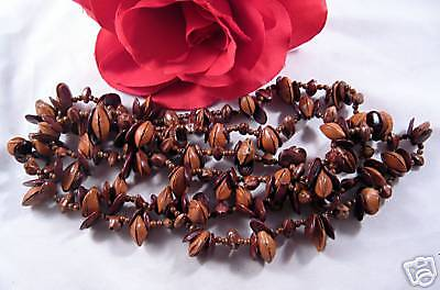 """Vintage Glazed Nuts 50"""" Beaded Necklace CAT RESCUE"""