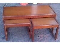 Nest of tables, hardwood, good condition.