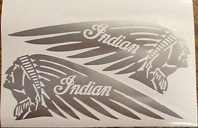 """SILVER 4.5"""" x 12"""" Indian Motorcycle Chief Scout Tank Vinyl decal Custom L & R"""