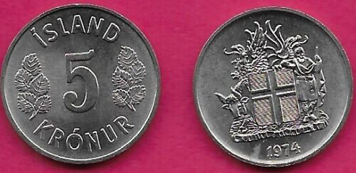 ICELAND 5 KRONUR 1974 UNC LEAVES FLANK DENOMINATION,ARMS WITHIN SUPPORTERS