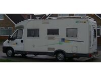 Fiat Chasson 4 berth Motor Home Very Low Mileage, Full MOT, Low Mileage, Fixed rear bed
