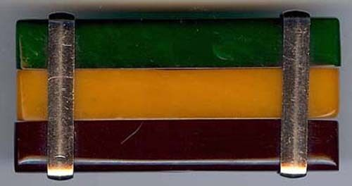 VINTAGE CHROME & BAKELITE GREEN YELLOW MAROON LAMINATED BELT BUCKLE