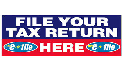 File Your Tax Return Here Vinyl Banner Income Tax Sign 3x10 Ft - Bb