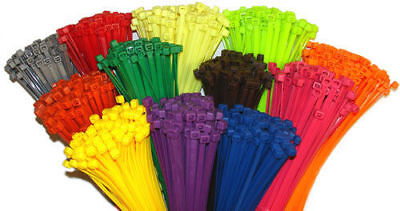 4 Multi Color Nylon Cable Tiestie Wraps Network Zip Ties Black Yellow Green