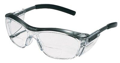 3M Reader Safety Glasses, +2.0 Diopter, Black Frame, Clear - M Reader