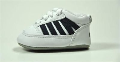 K-Swiss Shoes 5 Stripe New Born Baby Crib Booties Boys Fashion White -