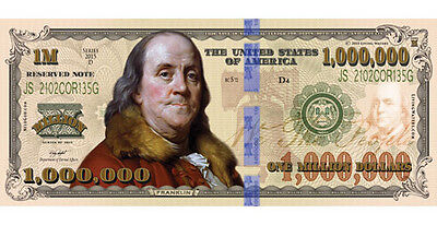 100 Franklin Million Dollar FAKE Play Funny Money Bill w/Gospel Tract 1,000,000  - Play Money 100 Dollar Bills