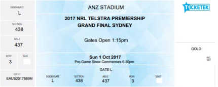 3 x NRL Grand Final Tickets  & 1 x P1 Pre Booked Parking Ticket