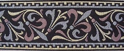 Fleur Trim (Wide, Jacquard Trim. Black Antique Reproduction. Fleur De Lis)