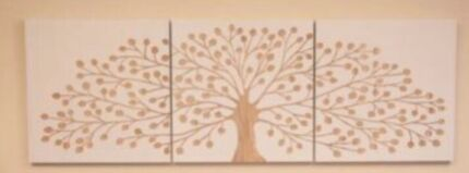 TREE OF LIFE Hand Carved Wall Art Mangowood Triptych