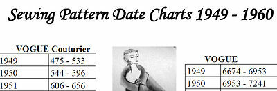 CHART to Date Sewing Patterns 1949 - 1960 VOGUE ADVANCE + *NOT A PATTERN*
