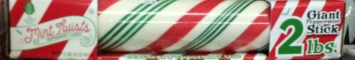 One 2 pound red green striped pole hard candy GIANT sticks peppermint Mint Twist