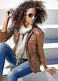 Tan Leather Jacket by Heine Best Connection size 18