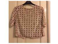 TopShop, pink beaded top. Size M