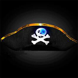 LED Pirate Hat with Flashing Skull
