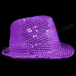 Sequin Purple Fedora Hats with Blinking LEDs