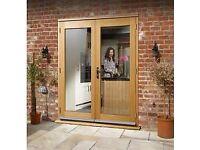 New oak double glazed french doors