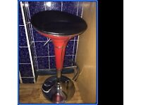 Red bar stool, leather, adjustable height, very good condition, very comfy
