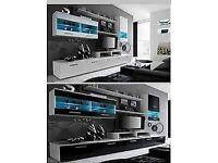 Wall unit Malibu / Free LED !!! / TV stand / Living room furniture set / High gloss