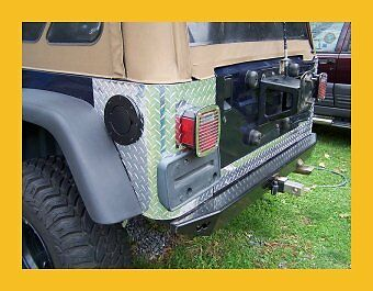 97-06 JEEP TJ WRANGLER DIAMOND PLATE REAR BODY ARMOR CORNER GUARD KIT 3PC NICE