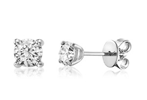 White Gold Diamond Solitaire Stud Earrings